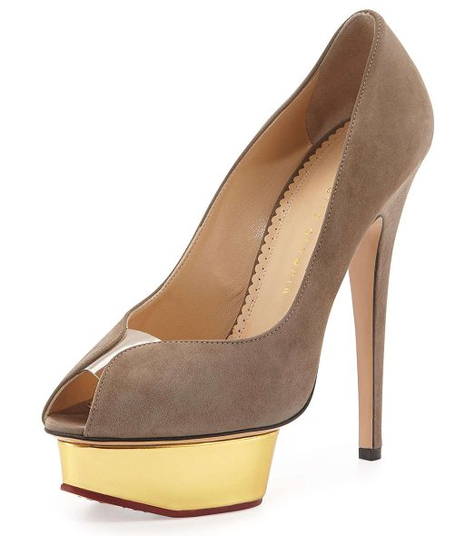 "Charlotte Olympia Daphne suede metallic-platform pump in gray - Charlotte Olympia suede pump. 6"" covered stiletto heel...."