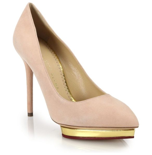 CHARLOTTE OLYMPIA Debbie metallic-platform suede pumps - A metallic island platform lends these neutrally hued,...