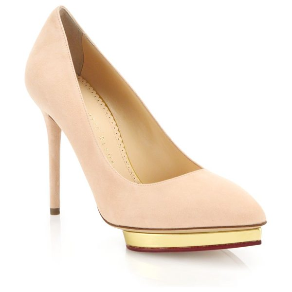 CHARLOTTE OLYMPIA Debbie suede platform pumps - Suede point-toe pump perched atop gilded heart...