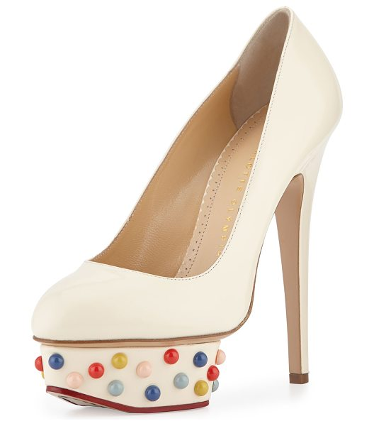 Charlotte Olympia Dolly studs platform pump in off white - Charlotte Olympia polished calfskin pump, featuring...