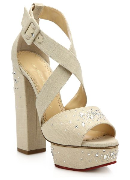 CHARLOTTE OLYMPIA edna embellished platform sandals - Crystal-detailed design with crisscross vamp....
