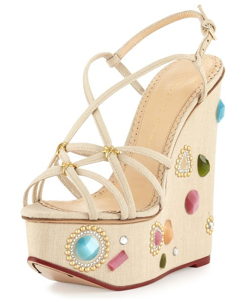 "Charlotte Olympia Elizabeth Jeweled Wedge Sandal in natural - Charlotte Olympia linen sandal. 6"" jeweled covered wedge..."