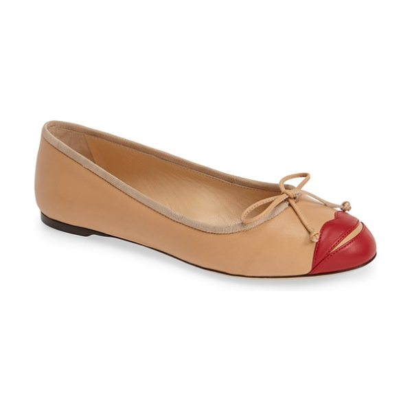 Charlotte Olympia kiss me darcy leather ballet flat in nude red - Vibrant red lips and a dainty bow detail play up the...