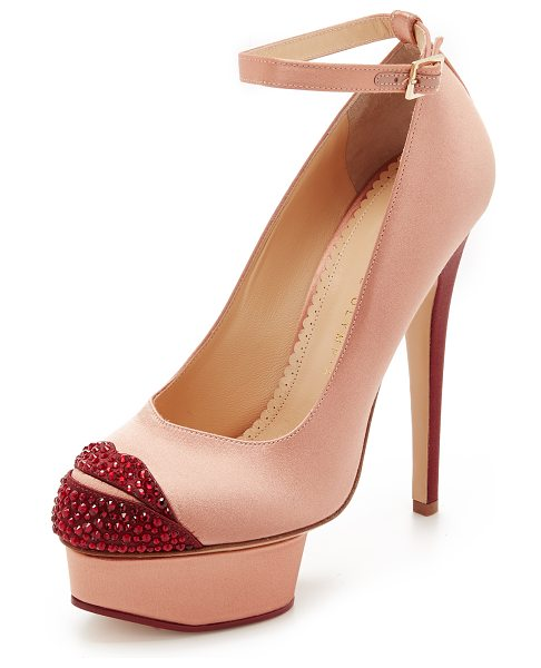 CHARLOTTE OLYMPIA Kiss me dolores pumps - Rhinestone lips accent the toe on these glamorous, two...