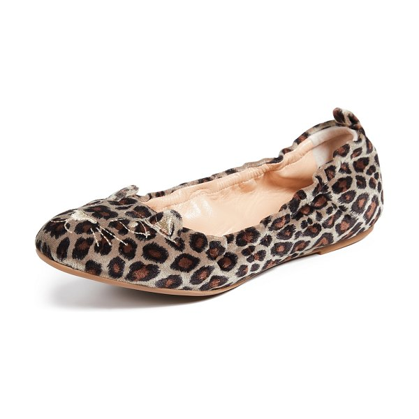 Charlotte Olympia kitty ballerina flats in leopard - Fabric: Velvet Leopard print Cat embroidery at toe...