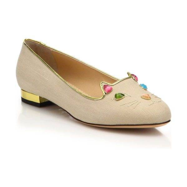 CHARLOTTE OLYMPIA Kitty on the rocks jeweled linen flats in natural - Signature flat with a multicolor jeweled kittyLinen...