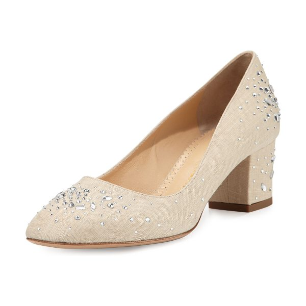 "CHARLOTTE OLYMPIA Low-Heel Jeweled Linen Pump in natural - Charlotte Olympia jeweled linen pump. 2"" covered block..."