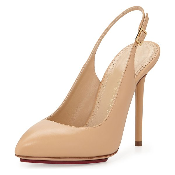 Charlotte Olympia Monroe Leather Slingback Pump in nude - Smooth napa leather. Almond toe. Tonal topstitching at...