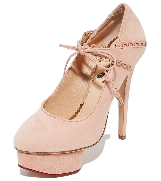 Charlotte Olympia ophelia heels in blush - Pastel suede and scalloped trim add a feminine feel to...