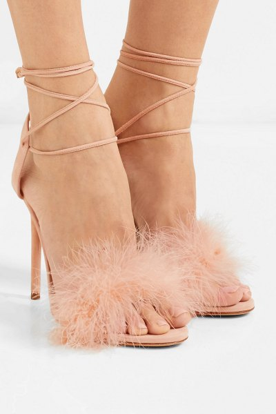 Charlotte Olympia salsa feather-trimmed suede sandals in baby pink - Charlotte Olympia's 'Salsa' sandals are named after the...