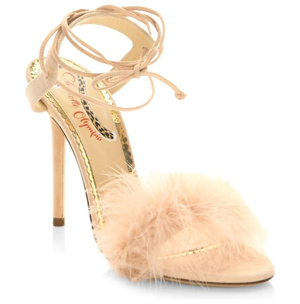 Charlotte Olympia salsa feathers & suede ankle-wrap sandals in lightpink - Svelte ankle-wrap sandal with vintage-style feather...