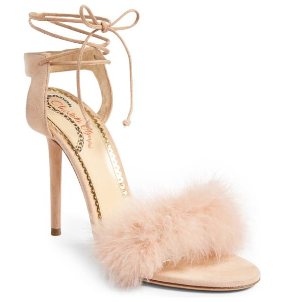Charlotte Olympia salsa sandal in blush - A flourish of ostrich feathers softens the toe strap of...