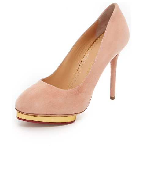 CHARLOTTE OLYMPIA Suede dotty pumps - Velvety suede Charlotte Olympia pumps with an inset,...
