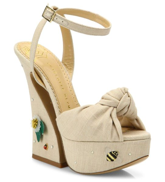 Charlotte Olympia vreeland floral-embroidered knotted linen platform sandals in natural - Knotted linen ankle-strap sandal on embroidered...