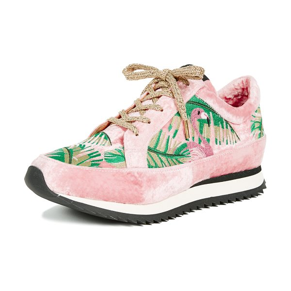 Charlotte Olympia work it! flamingo sneakers in pink - Fabric: Velvet Lace-up style Flat profile Lace-up at top...