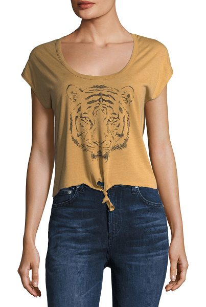 Chaser Bengal Tiger Tie-Front Tee in brown - Chaser tee with tiger face graphic. Scoop neckline....
