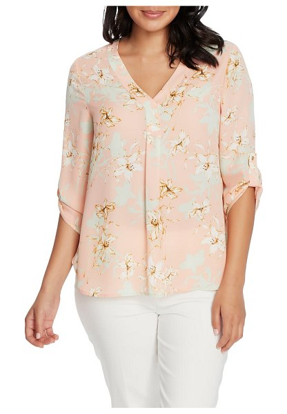Chaus floral v-neck roll tab blouse in coral