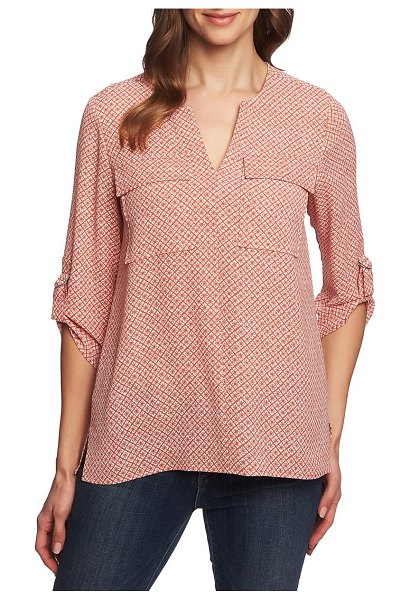 Chaus sundried tile print roll tab sleeve blouse in coral