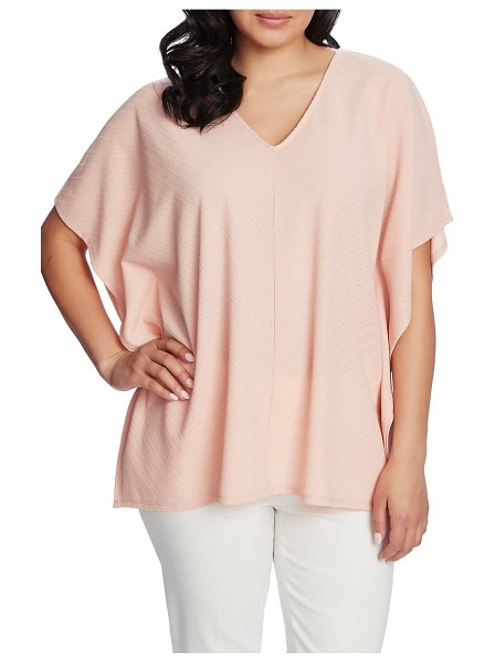 Chaus textured knit poncho top in coral