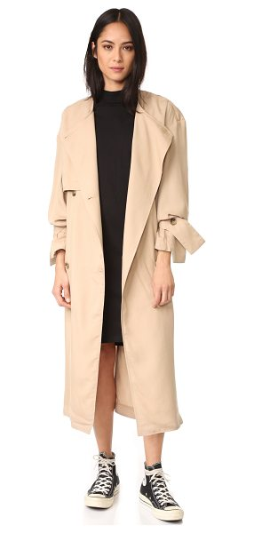 Cheap Monday flavor trench in khaki - Slinky material lends effortless drape to this classic...