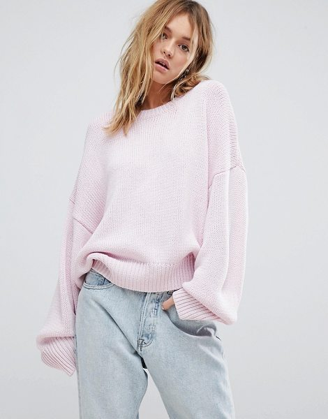 Cheap Monday oversized knit sweater in palepink - Sweater by Cheap Monday, Boat neck, Dropped shoulders,...