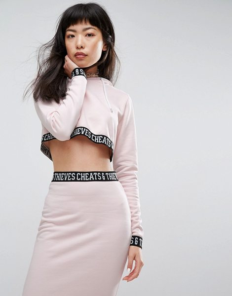 """CHEATS & THIEVES Crop Hoody With Logo Tape - """"""""Hoodie by Cheats Thieves, Soft-touch sweat, Drawstring..."""