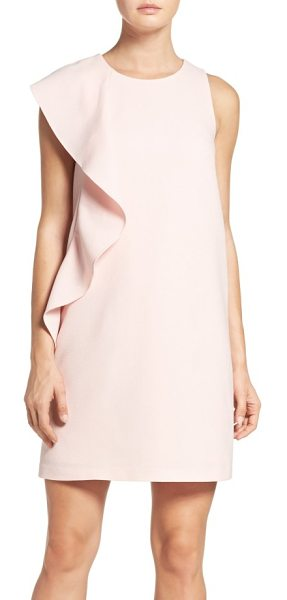 Chelsea28 asymmetrical ruffle shift dress in pink peach - Cascading ruffles at just one side embolden the sleek,...