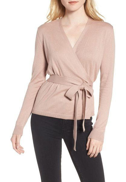 Chelsea28 ballet wrap sweater in pink adobe - A wrapped sweater cut from luxuriously lightweight...