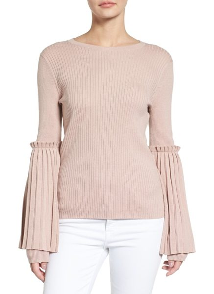 CHELSEA28 bell sleeve sweater in pink adobe - Voluminous overlays at the sleeves shaped by crisp...
