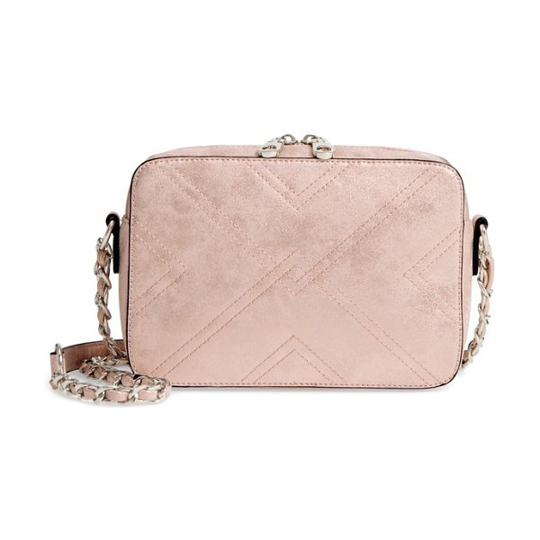 CHELSEA28 bella stitched faux leather crossbody bag in blush - Modern quilting refines a lightly structured...