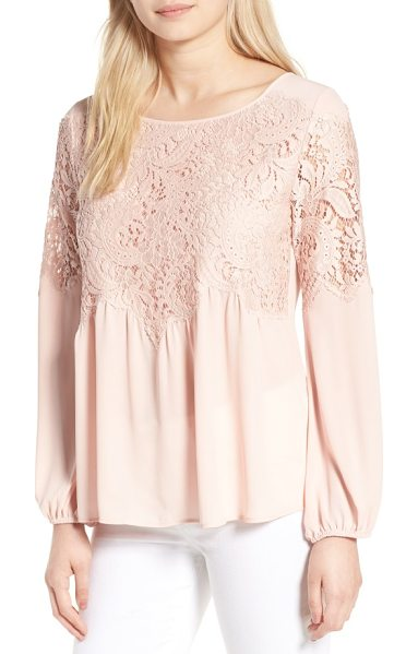 Chelsea28 button back lace top in pink peach - Scalloped lace boosts the feminine romance of a floaty...