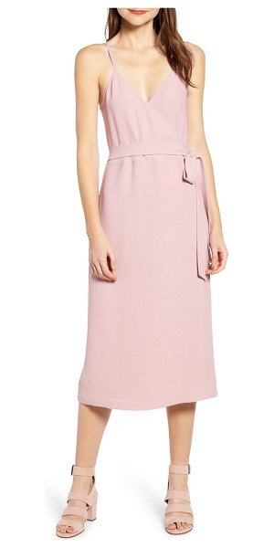 Chelsea28 crepe wrap midi dress in pink