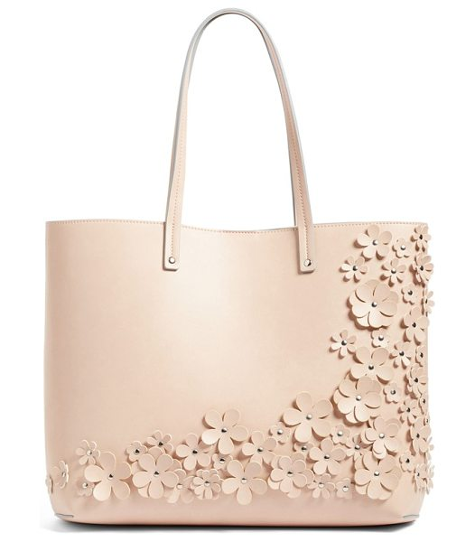 Chelsea28 olivia floral faux leather tote in pink hero - As beautiful as it is practical, this versatile tote cut...