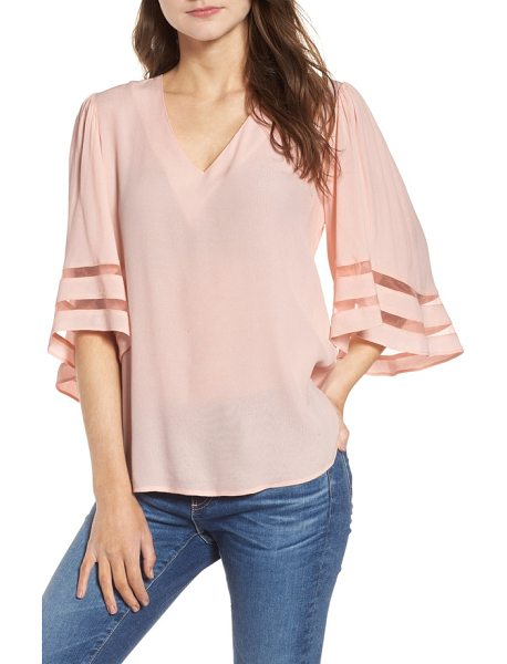 Chelsea28 illusion sleeve top in pink wood - With its sheer inset sleeves, this drapey blouse is a...