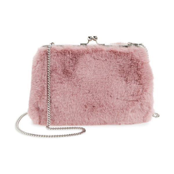 Chelsea28 jagger faux fur crossbody clutch in pink zephyr - Plush faux fur transforms this frame clutch into an...