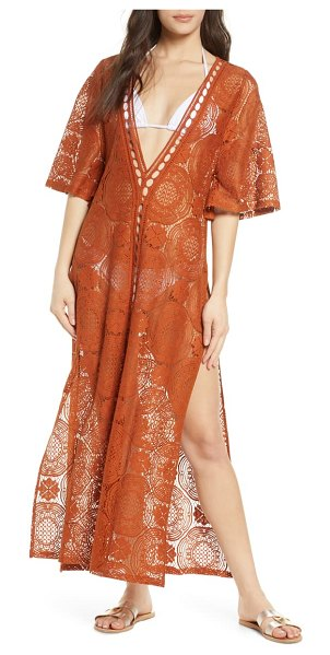 Chelsea28 lace cover-up maxi dress in brown