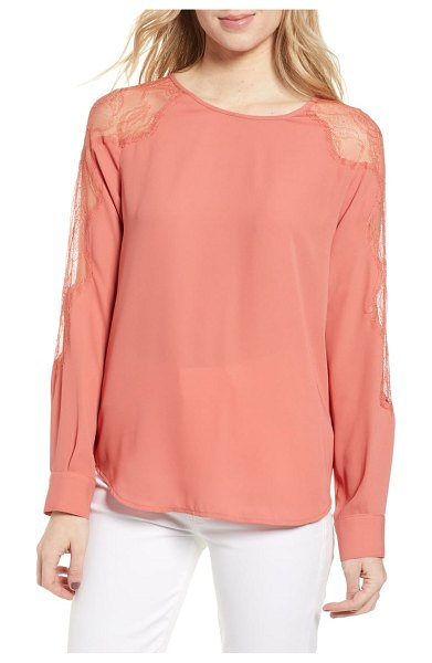 Chelsea28 lace inset blouse in coral