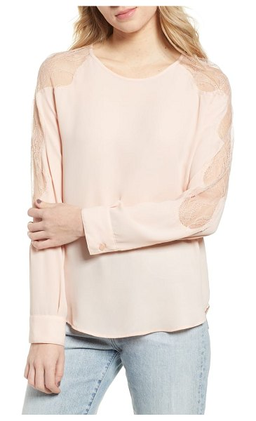 Chelsea28 lace inset blouse in pink