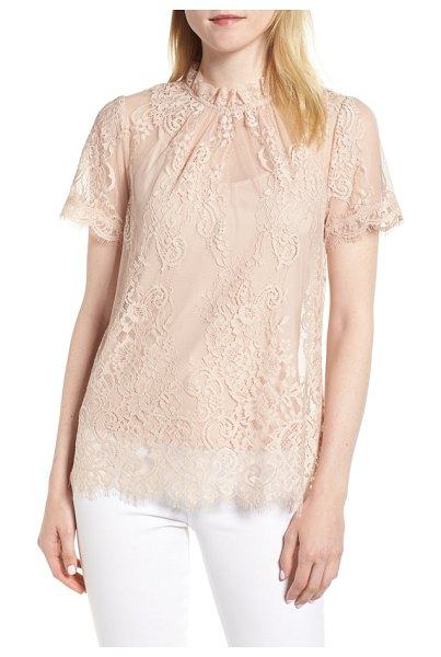Chelsea28 lace ruffle collar blouse in pink dust - Dreamy days and enchanting evenings are yours to savor...