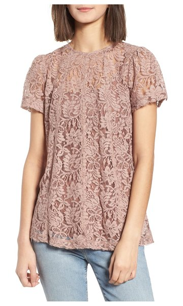 Chelsea28 lace top in pink - Classically feminine floral lace makes up a sheer,...