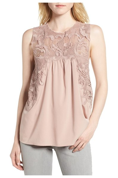 Chelsea28 lace yoke top in pink adobe - An ornate scrolling trellis with fluid edges veils the...