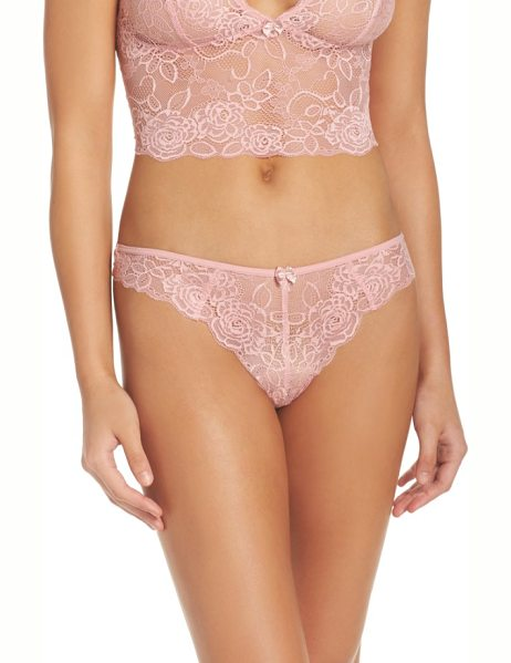 Chelsea28 lacy days thong in pink bride - Scalloped edges give both an extra-romantic look and an...