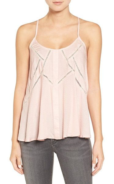 Chelsea28 ladder stitch racerback tank in pink peach - Stripes of delicate ladder stitching add beautiful...