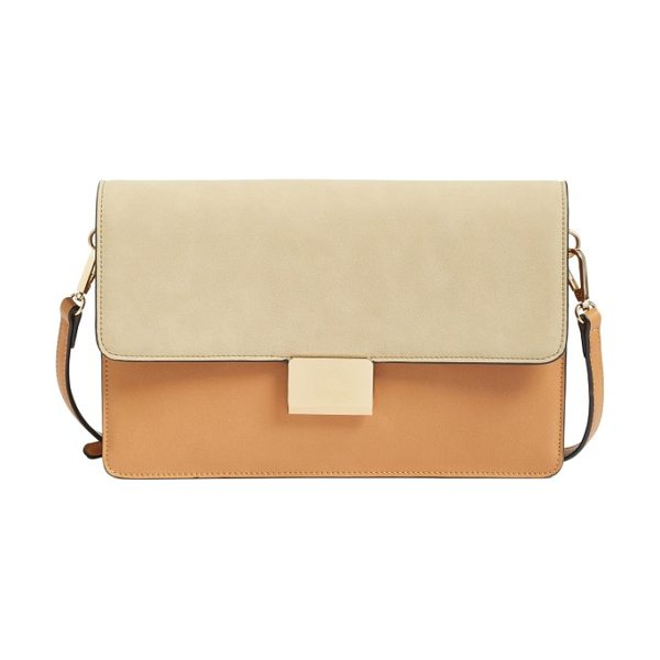 Chelsea28 leighton colorblock faux leather crossbody bag in cognac/ stone