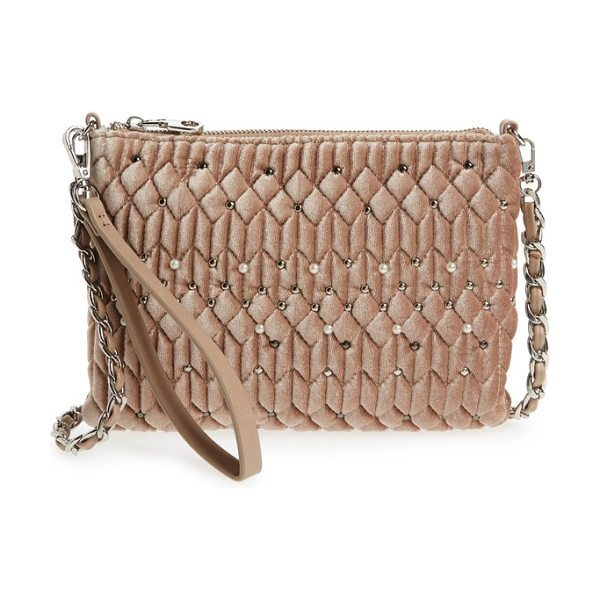CHELSEA28 lily quilted velvet crossbody clutch in pink hero - Polished metal and imitation-pearl studs punctuate the...