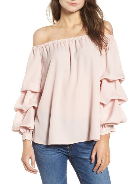 Chelsea28 off the shoulder top in pink peach - A shoulder-baring neckline balances the fluttery volume...