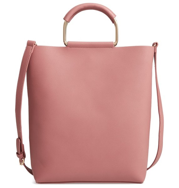Chelsea28 payton convertible faux leather tote in pink - Wrapped ring handles and an optional crossbody strap...
