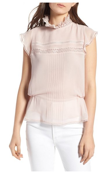 Chelsea28 pintuck & lace top in pink hush - Romantic details like ruffled lace and pretty pintucks...