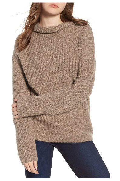 Chelsea28 rib funnel neck sweater in brown - This cozy sweater with an easy, oversized fit is the...