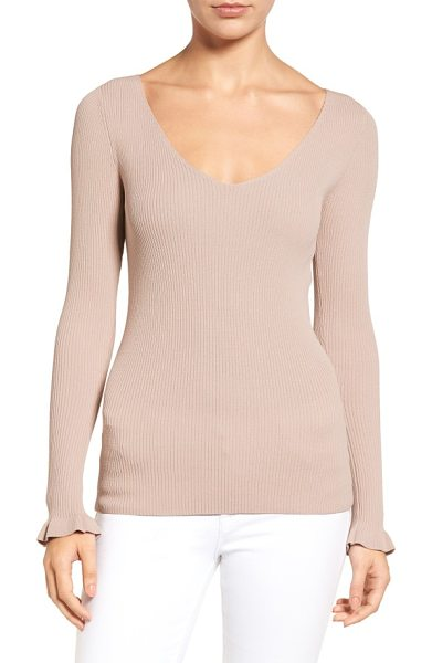 Chelsea28 ribbed v-neck sweater in tan memoir - A wide V-neckline flatters and frames your face in this...